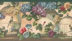 Victorian Floral Birds & Birdcages Wallpaper Border