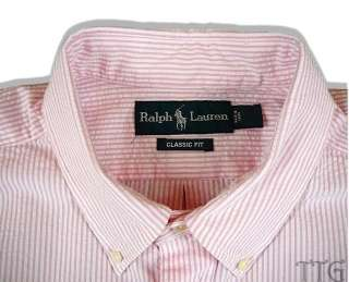 NWT Polo Ralph Lauren Pink Seersucker Shirt LT L Tall
