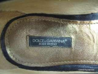Dolce & Gabbana Black Leather Ribbon Bow Floats 35.5