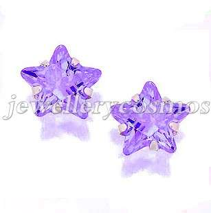 green purple red blue pink black star cz stud earrings