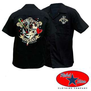 Stewed Screwed Tattooed Work Shirt Rockabilly Garage Kustom Kerosin