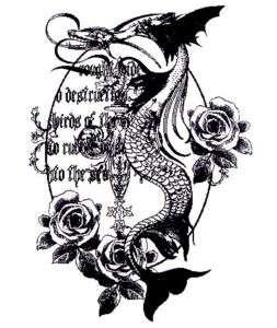 DRAGON FISH ROSES TATOO MEDIEVAL WOMANS XS T SHIRT XT4