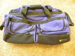 LL Bean Traveler Large Rolling Luggage Duffle Blue Black Handle Rolls