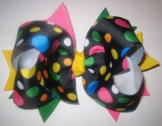 Black Rainbow Jumbo Dot Boutique Hair Bow Baby Hairbow