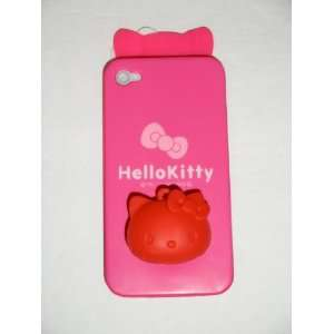 Kitty (Hot Pink) Flexible Plastic Case Back Cover With Bow & Soft