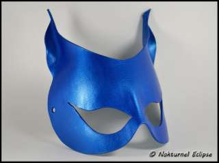 Blue Catwoman Leather Mask Batgirl Super Hero Cat Halloween Costume
