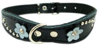 Beige Leather Dog Collar Blink Crystal Diamante Flower