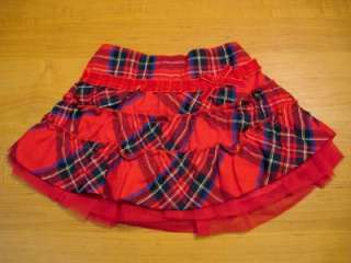 Childrens Place Red Plaid Tiered Skirt 3T New