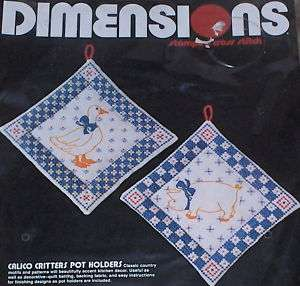 1983 Dimensions Calico Critters Stamped X Stitch Pot Holders Kit NIP