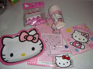 HELLO KITTY PARTY TABLECLOTH, PLATES, CUPS, BLOWOUTS