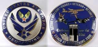 US Air Force USAF USA Military Caching Aim High Geocoin