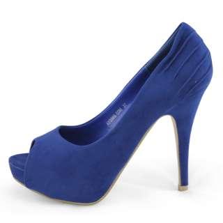 SHIP womens blue suede peep toe dress platform high heels pumps shoes