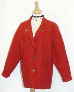 GEIGER ~ RED / BOILED WOOL Cardigan AUSTRIA Winter SWEATER Jacket 42