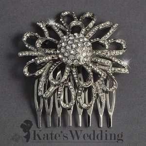 Bridal Wedding Side Comb Filigree Flower Bridal Hair Accessory   Ideal