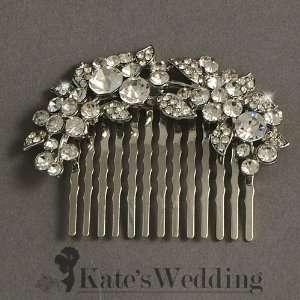Bridal Wedding Side Comb Leaf and Flower Rhinestone Crystal Bridal