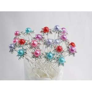 Color Faux Pearl with Crystal Bridal Wedding Hair Pins Toys & Games
