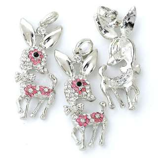 1PC Animal Sika Deer Pendant Silver Plated Pink & Clear Crystal Glass