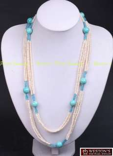 CULTURED WHITE FRESHWATER PEARL TURQUOISE BEAD NECKLACE