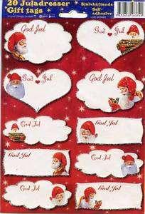 Swedish Norwegian Danish God Jul Christmas Tomtar Gift Labels Stickers
