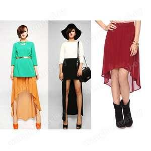 Retro Split Asymmetric irregular Chiffon swallowtail Maxi dress skirts