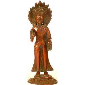 Standing Crowned Buddha in Abhaya Mudra   Brass Sculpture