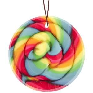 Rikki Knight Lollipop swirl Design Glass Round Christmas Tree Ornament
