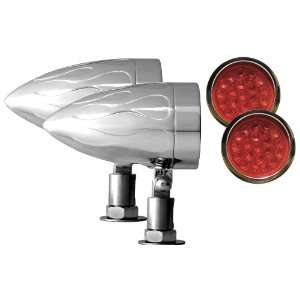 Flamed Chrome Target LED Motorcycle Bullet Light   Pair Automotive