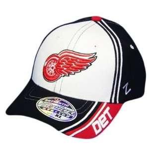NHL DETROIT RED WINGS WHITE BLK FLEX FIT XL XLG HAT CAP