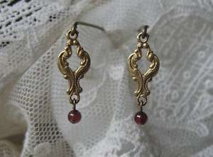 French Doll Garnet Old Goldtone Filigree 3/4 long Earrings Jumeau Bru