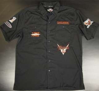 Harley Davidson Men L Button Front T Shirt V Twin Hawg Patches