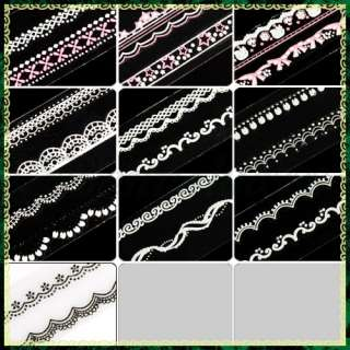 Mix Long Lace Styles Acrylic Nail Art DIY French Tips Decals Stickers