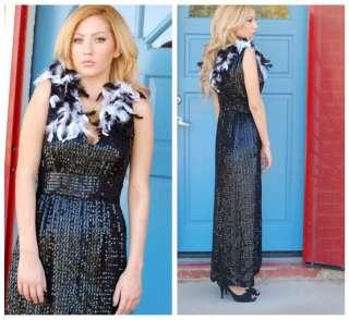 60s VTG Mega Glamorous Sequined Feather Dress