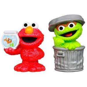 New Playskool Sesame Street Oscar Elmo Figurine Play Pack Set