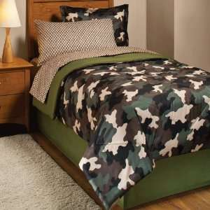 Boy Green Brown Black Camo Full Comforter Set (8pc Bed in