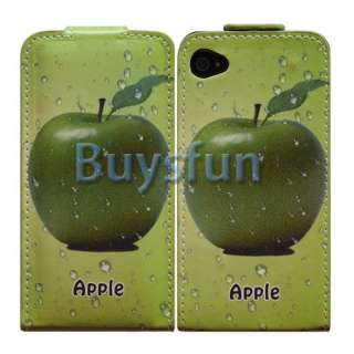 PRINT FLIP VERTICAL LEATHER CASE COVER FOR APPLE IPHONE 4 4G