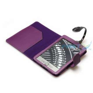 PURPLE PU LEATHER CASE COVER FOR NEW  KINDLE 4 WiFi WITH LED