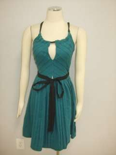 Tracy Reese  Teal Blue Accordion Pleat Club Wear Sexy Dress S