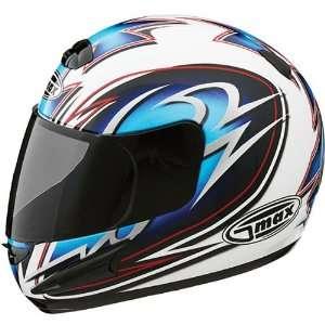 GMAX GM38 Mens Street Motorcycle Helmet   White/Blue/Black/Silver