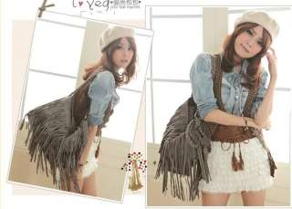 HOT Suede Fringe Tassel Shoulder Bag Womens Handbag