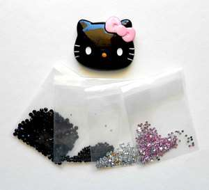 Kitty Pink Bow Bling Flatback Resin Cabochons Kawaii Deco Kit