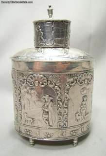 Antique 800 Silver Sculptured Tea Caddy French Import Marks