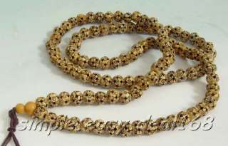 Vintage Tibetan hand carved 108 Buddha Bead Necklace PRAYER MALA