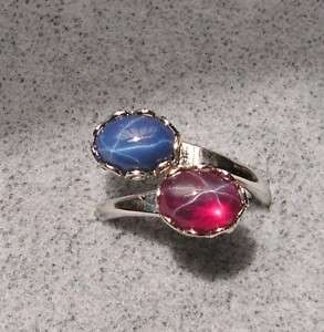 8X6MM BLUE RED LINDE LINDY STAR SAPPHIRE CREATED RING