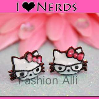 HELLO KITTY I LOVE NERDS PIERCED EMO KITSCH EARRINGS♡♡