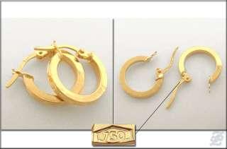o1683   BRAND NEW 18K SOLID YELLOW GOLD HOOP EARRINGS DIAMETER 14 MM