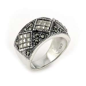 3 Diamond Shape Marcasite Sterling Silver Ring, Size 6