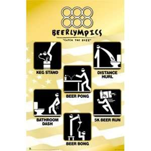 Beer Olympics College Drinking Poster Print 22x34 Home & Kitchen