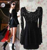 J333 women black red large lace short dress plus size big long sleeves