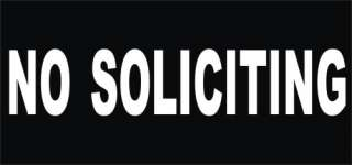 No Soliciting Wide Business White vinyl decal sticker