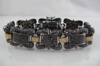 Mens 14k Black Gold EP Black Yellow Czs New Bracelet